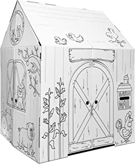 Easy Playhouse Barn - Kids Art & Craft for Indoor & Outdoor Fun, Color Favorite Farm Animals – Decorate & Personalize The ...