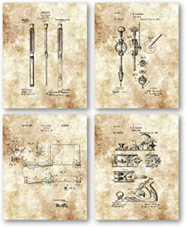 Original Woodworking Tools Drawings Artwork - Set of 4 8 x 10 Unframed Patent Prints - Great Gift for Carpenters, Handyman and Woodworker - Vintage Wood Shop Decor