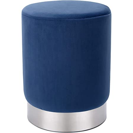 BIRDROCK HOME Round Blue Velvet Ottoman Foot Stool – Soft Compact Padded Stool - Great for The Living Room, Bedroom and Kids Room - Small Furniture - Blue