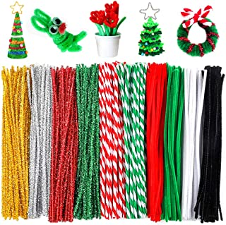 Outuxed 400Pcs Christmas Pipe Cleaners, Assorted Colors Chenille Stems for Christmas DIY, Art Craft Supplies and Decorations, 12inch6mm (10 Colors)