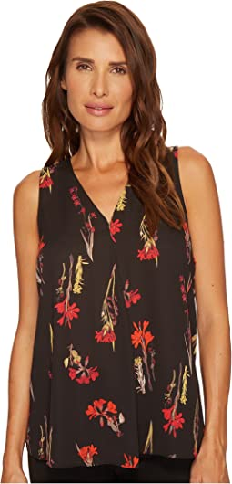 Vince Camuto - Sleeveless Elegant Botanical V-Neck Drape Front Blouse