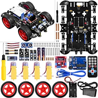 UNIROI Smart Robot Car Kit for Arduino, 4WD Remote Control Car with Obstacle Avoidance Infrared Tracking Line Following (No Welding Required) UA060