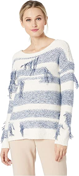 Long Sleeve Boat Neck Fringe Sweater
