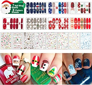 15 Sheets Christmas Nail Decals Stickers, 800 Pcs Self-adhesive Tips and 7 Sets Full Wrap DIY Nail Art Stencil with 1 Nail Buffer File. Include Christmas Tree/Santa/Snowflake/Snowman Etc.