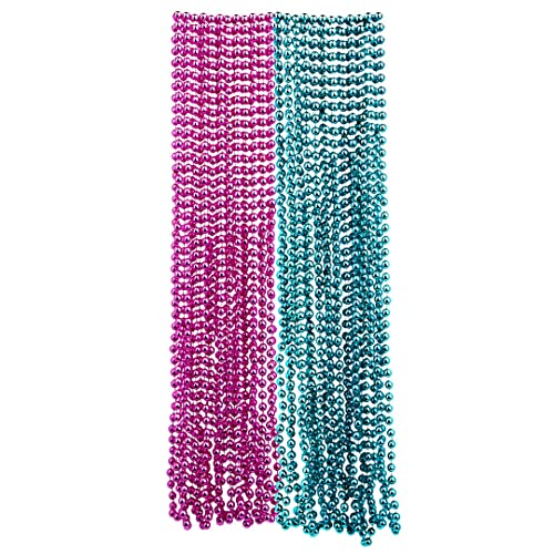 Andaz Press Mardi Gras Plastic Bead Necklaces Duo for Gender Reveal Baby Shower Party Favors and Table Centerpiece Decorations, Pink and Baby Blue, 24-Pack