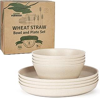Grow Forward Premium Wheat Straw Dinnerware Sets - 8 Piece Unbreakable Microwave Safe Dishes - Reusable Wheatstraw Dinnerw...