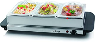 NutriChef 3 Buffet Warmer Server - Professional Hot Plate Food Warmer Station , Easy Clean Stainless Steel , Portable & Great for Parties Holiday & Events - Max Temp 175F (Renewed)