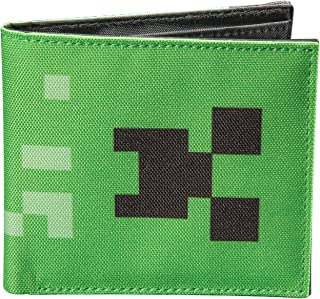 Minecraft Creeper Face Nylon Bi-Fold Wallet, Green, One Size