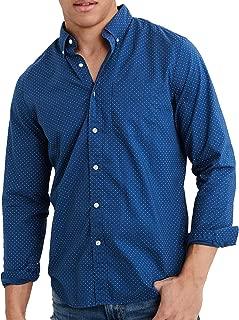 American Eagle Mens Long Sleeve Button Down Shirt, Blue Mist