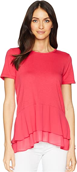 Solid Woven Double Hem Top