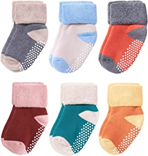 Belsmi 6 Pack Non Skid Baby Socks Toddler Cotton Thick Socks With Grips