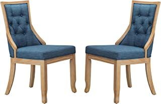 Stone & Beam Vintage Armless Dining Chair, 19H, Navy, Set of 2