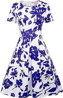 Belle Poque Vintage 1960s Short Sleeve Crew Neck Floral Pattern A-Line Swing Dress BP404