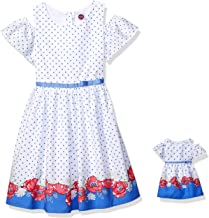 Dollie & Me Cold Shoulder Dress Set with Matching Outfit-Girl & 18 Inch Doll Clothes