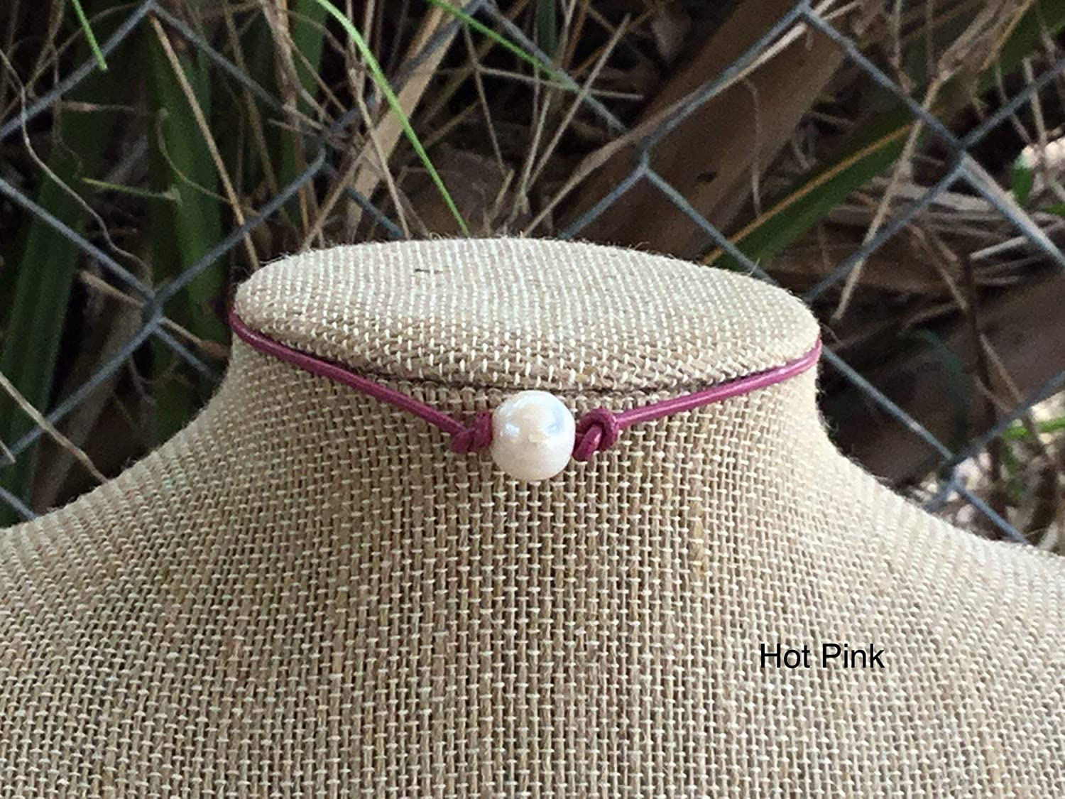 Single Freshwater New Free Shipping Pearl Hot Choker Necklace Pink trust Leather