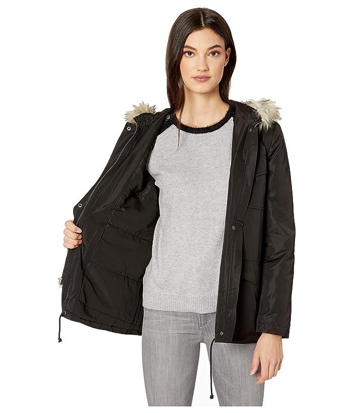 BB Dakota  6th Element Water Repellent Nylon Twill Jacket with Removable Fur Trim Hood (Black) Womens Coat