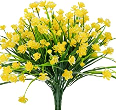 E-HAND Artificial Flowers Fake Cemetery Yellow Daffodils Outdoor Greenery Shrubs Plants Plastic Bushes Window Box UV Resistant 4 Branches Fence Indoor Outside Hanging Planter Wedding Cemetery Decor