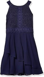 فستان Amy Byer للفتيات بدون أكمام مناسب وواسع مع تنورة غير متماثلة