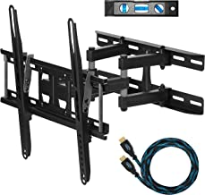 """Cheetah Mounts APDAM3B Dual Articulating Arm TV Wall Mount Bracket for 20-65"""" TVs including a Twisted Veins 10' (m 3) HDMI Cable and a 6"""" (cm 15) 3-Axis Magnetic Bubble Level"""