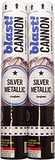 2 Pack Silver Confetti Cannons for Indoor/Outdoor Celebration, Gender Reveal, Birthday, Baby Shower, Graduation, Wedding, Festival, Anniversary, Event and Party Supplies