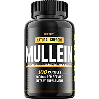 Mullein Leaf Capsules 1000mg, Mullein Lung Complex (Verbascum Thapsus), Organic Mullein Lung Cleanse Herbal Supplement, 100 Capsules (100)