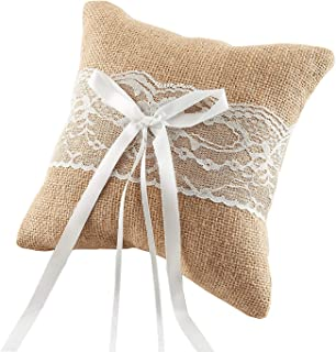 SISJULY Burlap Ring Bearer Pillow Wedding Ceremony Lace Bow Gift Ring Decoration Pillow Cushion (Elegant Lace Ring Pillow, 8 x 8 inch (20 x 20cm))