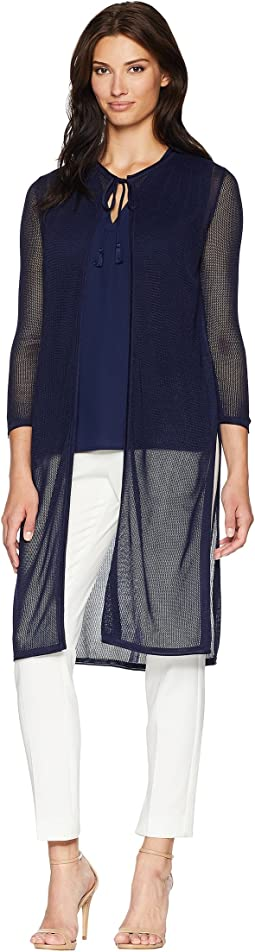 Long Sleeve Duster Cardigan with Side Slits