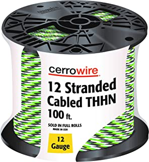 CERRO 112-361253C 100-Feet 12 Gauge Stranded Cabled THHN Black, White and Green Wire, 100-Foot,
