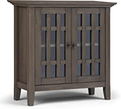 SIMPLIHOME Bedford SOLID WOOD 32 inch Wide Rustic Low Storage Media Cabinet in Farmhouse Grey, with 2 Tempered Glass Door...