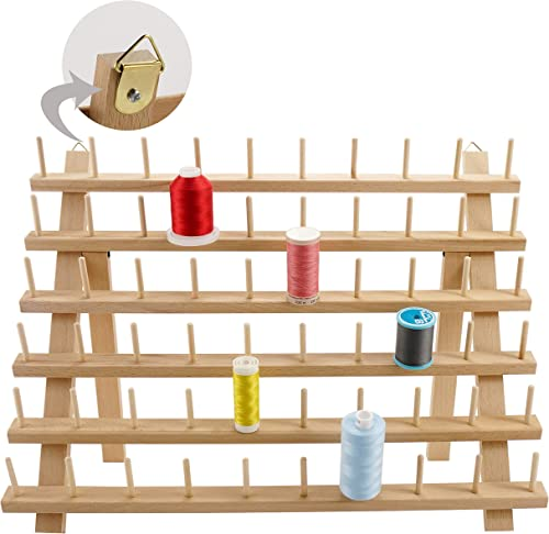 New brothread 60 Spools Wooden Thread Rack/Thread Holder Organizer with Hanging Hooks for Sewing, Quilting, Embroider...