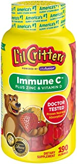 L'il Critters Kids Immune C Gummy Supplement: Vitamins C, D3 & Zinc for Immune Support, 60 or 120mg Vitamin C Per Serving,...