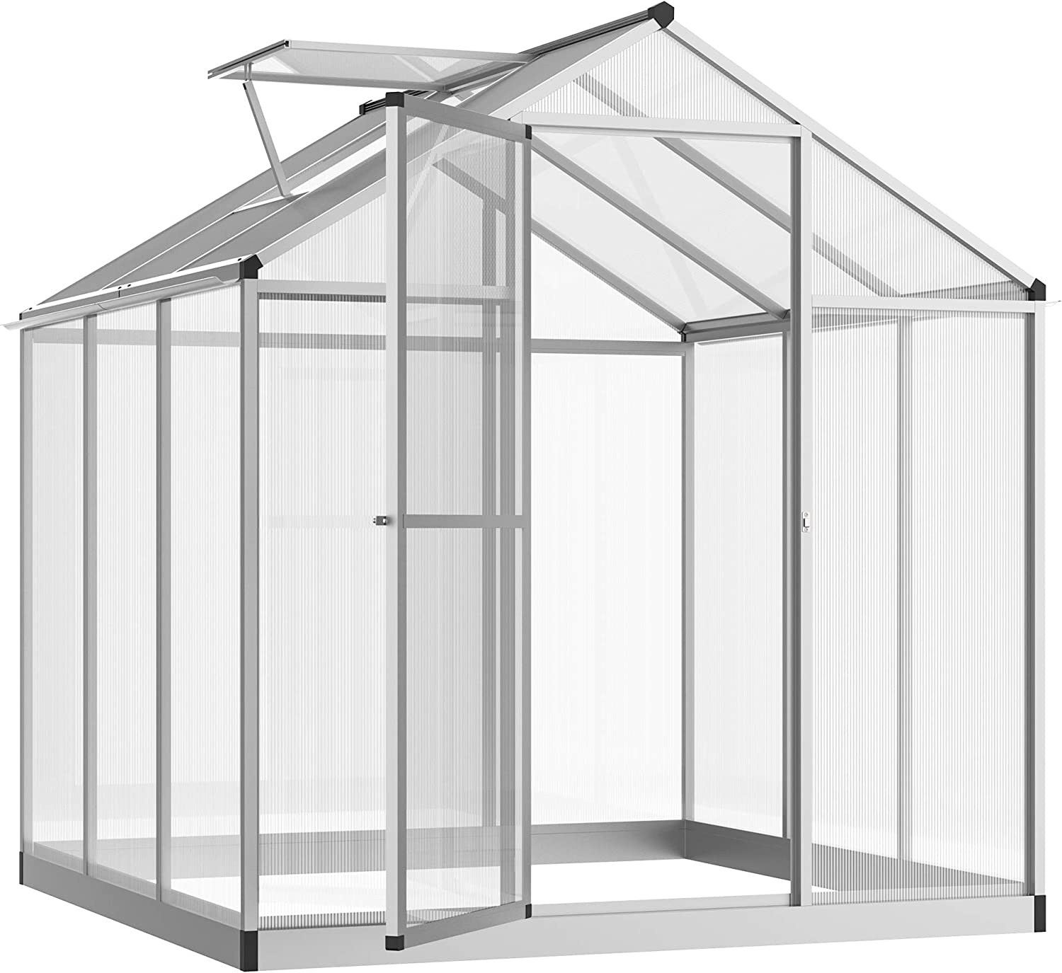 Outsunny 2021 6' Ranking TOP4 L x W Outdoor Walk-in with Garden Roof Greenhouse