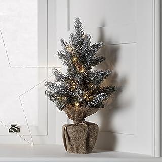 Lights4fun – Árbol de Navidad de 53cm con 15 LED Blanco Cálido a Pilas