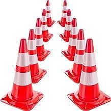 Arebos 10 x verkeerskegels   reflecterende waarschuwingsgeleiderkegels   pylone   oranje-wit   verkeerskegel 50 cm