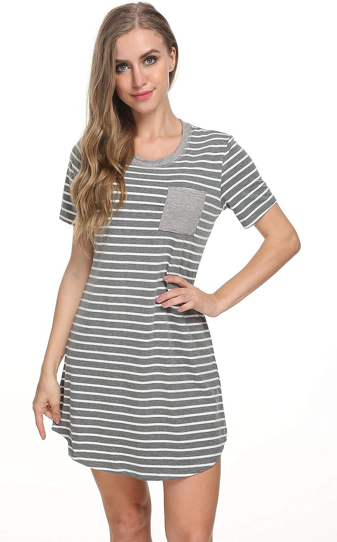 Manxiu Nightshirt Womens Short Sleeve Stripe Loungewear Shirt Cotton Sleepwear Top SXXL