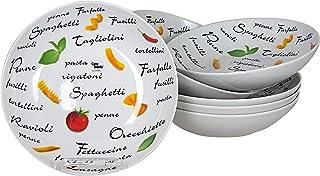 COSY TRENDY 488518 Lot de 6 Assiettes à pâtes, diamètre 20 cm, Porcelaine, Blanc
