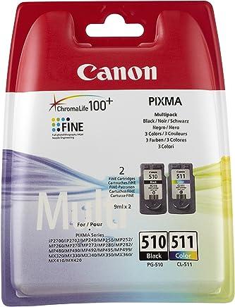 Canon PG-510/CL-511 Cartuccia Originale Getto d'Inchiostro, 2 Pezzi, Nero + Colore, cmyk-multipack