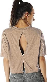 قمصان علوية للتمرين بظهر مفتوح من آيزون - تيشيرتات لليوغا لممارسة التمارين الرياضية من أكتيوير للنساء