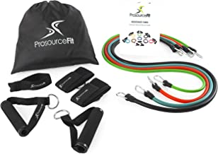 Prosource Fit Stackable Resistance Bands 11-Piece Set with Extra Large Handles, Door Anchor, Ankle Straps, Exercise Guide and Carrying Case