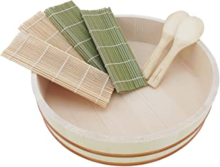 "BambooMN 15.3"" Sushi Oke Tub Hangiri with 7 Pieces Sushi Making Serving Accessory Kit"
