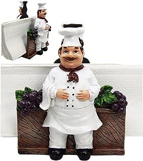 Ebros Gift Fat Chef Alton Grape Wine Vineyard Dinner Napkin Holder Figurine Tabletop Decorative Chefs Sous Grapes Vines (1)