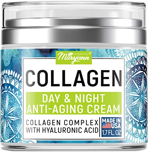 Maryann Organics Collagen Cream - Anti Aging Face Moisturizer - Day & Night - Made in USA - Natural Formula with Hyal...