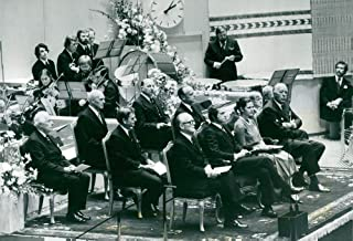 Vintage photo of Tage Magnusson, Torsten Bengtsson, Karl Erik Eriksson, Olof Palme, Gunnar Lagergren, President Henry Allard, King Carl XVI Gustaf, Queen Silvia and Prince Bertil at the opening of the Riksdag