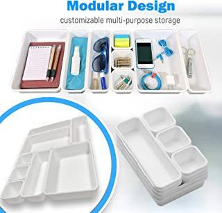Drawer Organizer (8 PCS) - Interlocking Desk Organizer Tray   Drawer Dividers Snap Together for Custom Layout   Non Slip - Includes Bonus Adhesive Bumpers   Organize Makeup, Tools, Office Supplies