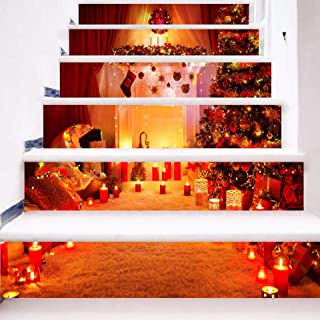 zhiyu&art decor Christmas 3D Stair Decals Stickers-6Pcs/Set Stair Risers Stickers Decals Removable Staircase Decals Stickers Waterproof Stair Mural Wallpaper for Christmas Decoration