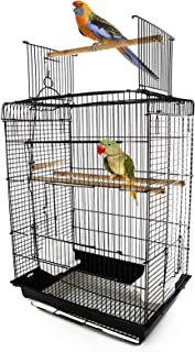 Jaula para Pájaro Espaciosa Jaula de Aves con Techo Abierto con 4 Soportes 2 Comederos para Interior o Exterior 41.5x29.5x56.5cm