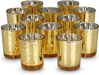 KISCO CANDLES: 8 Hour Votive Candles with Holders Gold Decorative Glass Home Decor, Beautiful Living Room, Kitchen, Bathroom Lighting   Long-Lasting Wax   12-Pack