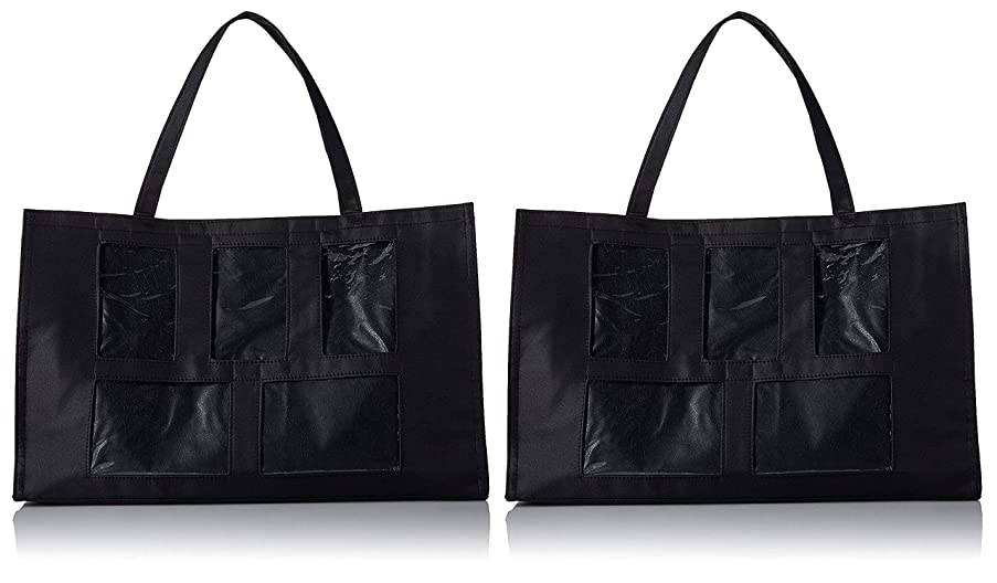 2-Pack - Darice 5 Window Photo Tote, 12-Inch by 19-Inch, Black
