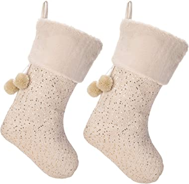 """iPEGTOP 18"""" Luxury Wool Christmas Stocking, Champagne Gold Wool Knit with Shiny Sequin Faux Fur Cuff Yarn Balls Santa Sto"""