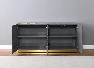 Best Master Furniture Taylor High Gloss Lacquer Sideboard/Buffet with Gold Trim, Grey